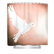 Dove In Flight Red Shower Curtain