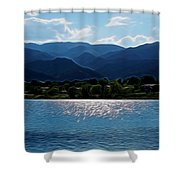 Down By The Lake Digital Art Shower Curtain
