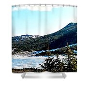 Down In The Valley Triptych Shower Curtain