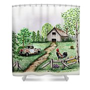 Down On The Farm Shower Curtain by Lena Auxier