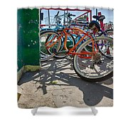 Down Spout And Bikes Shower Curtain