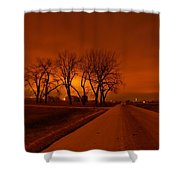 Down The Haunting Road Under The Orange Sky Shower Curtain