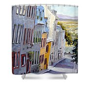 Down The Hill Old Quebec City Shower Curtain