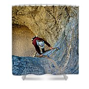 Down The Ladder In Big Painted Canyon Trail In Mecca Hills-ca  Shower Curtain