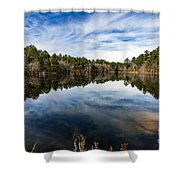 Down The Lake Shower Curtain