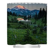 Down The Valley To Rainier Shower Curtain