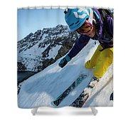 Downhill Skiier In Portillo, Chile Shower Curtain
