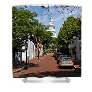 Downtown Annapolis With Maryland State House Cupola Shower Curtain