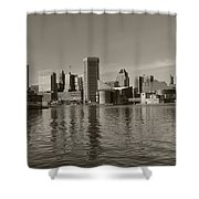 Downtown Baltimore Skyline Sepia Shower Curtain
