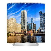 Downtown Chicago At Franklin Street Bridge Picture Shower Curtain by Paul Velgos