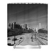 Downtown Chicago Train Tracks Black And White Shower Curtain