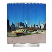 Downtown Chicago With Buckingham Fountain 2 Shower Curtain