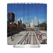 Downtown Chicago With Train Tracks Shower Curtain
