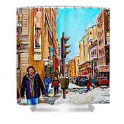 Downtown City Life Shower Curtain