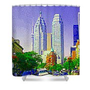 Downtown Core Flatiron Building And Cn Tower Toronto City Scenes Paintings Canadian Art Cspandau Shower Curtain