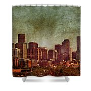 Downtown Denver Antiqued Postcard Shower Curtain
