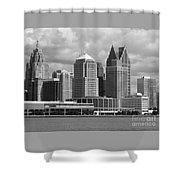 Downtown Detroit Riverfront Bw Shower Curtain