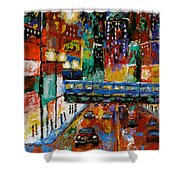 Downtown Friday Night Shower Curtain