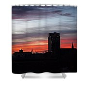 Downtown Glow Shower Curtain by Rona Black