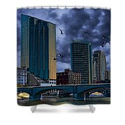 Downtown Grand Rapids Michigan By The Grand River With Gulls Shower Curtain
