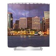 Downtown Honolulu Hawaii Dusk Skyline Shower Curtain