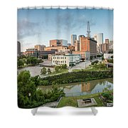 Downtown Houston From Uh-d. September Shower Curtain by Silvio Ligutti