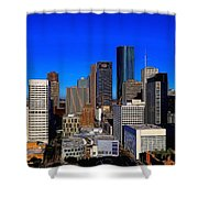 Downtown Houston Painted Shower Curtain