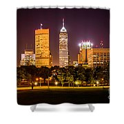Downtown Indianapolis Skyline At Night Picture Shower Curtain