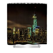 Downtown Manhattan At Night Shower Curtain