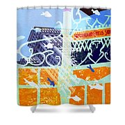 Downtown Manhattan Fishes Shower Curtain