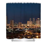 Downtown Miami Skyline At  Shower Curtain