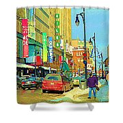 Downtown Montreal Eatons Centre Complex Les Ailes Old Navy Rue Mcgill College City Scenes  C Spandau Shower Curtain