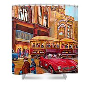 Downtown Montreal-streetcars-couple Near Red Fifties Mustang-montreal Vintage Street Scene Shower Curtain