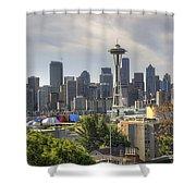 Downtown Seattle Skyline With Mount Rainier Shower Curtain