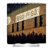 Downtown Seattle With Silhouetted Runners On Brick Wall Early Mo Shower Curtain