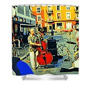 Downtown Street Musicians Perform At The Coffee Shop With Cool Tones On A Hot Summer Day Shower Curtain