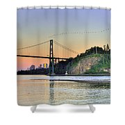 Downtown Vancouver And Lions Gate Bridge At Twilight Shower Curtain by Eti Reid
