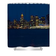 Downtown Vancouver At Night  Shower Curtain