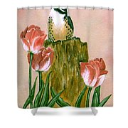 Downy Woodpecker Shower Curtain