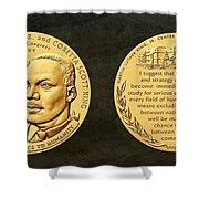 Dr Martin Luther King Jr And Coretta Scott King Bronze Medal Art Shower Curtain