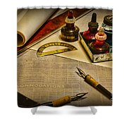 Draftsman - The Ship Builder  Shower Curtain