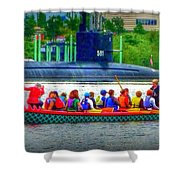 Dragon Boat Challenges Submarine  Shower Curtain