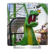 Roar Too The Green Dragon Ride Shower Curtain