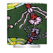 Dragonflies And Water Lilies Shower Curtain