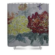 Dragonfly Among Chrysanthemums Shower Curtain