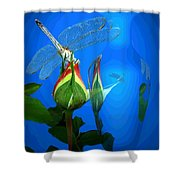 Dragonfly And Bud On Blue Shower Curtain