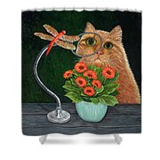 Dragonfly And Cat Shower Curtain