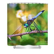 Dragonfly Art - A Thorny Situation Shower Curtain