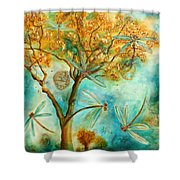 Dragonfly Flirtation Shower Curtain