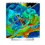 Dragonfly On A Cosmic Rose Shower Curtain